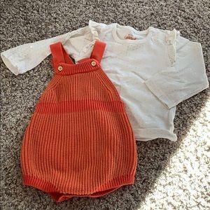 Orange sweater knit romper with long sleeve tee